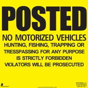 Yellow No Motorized Vehicles Posted sign