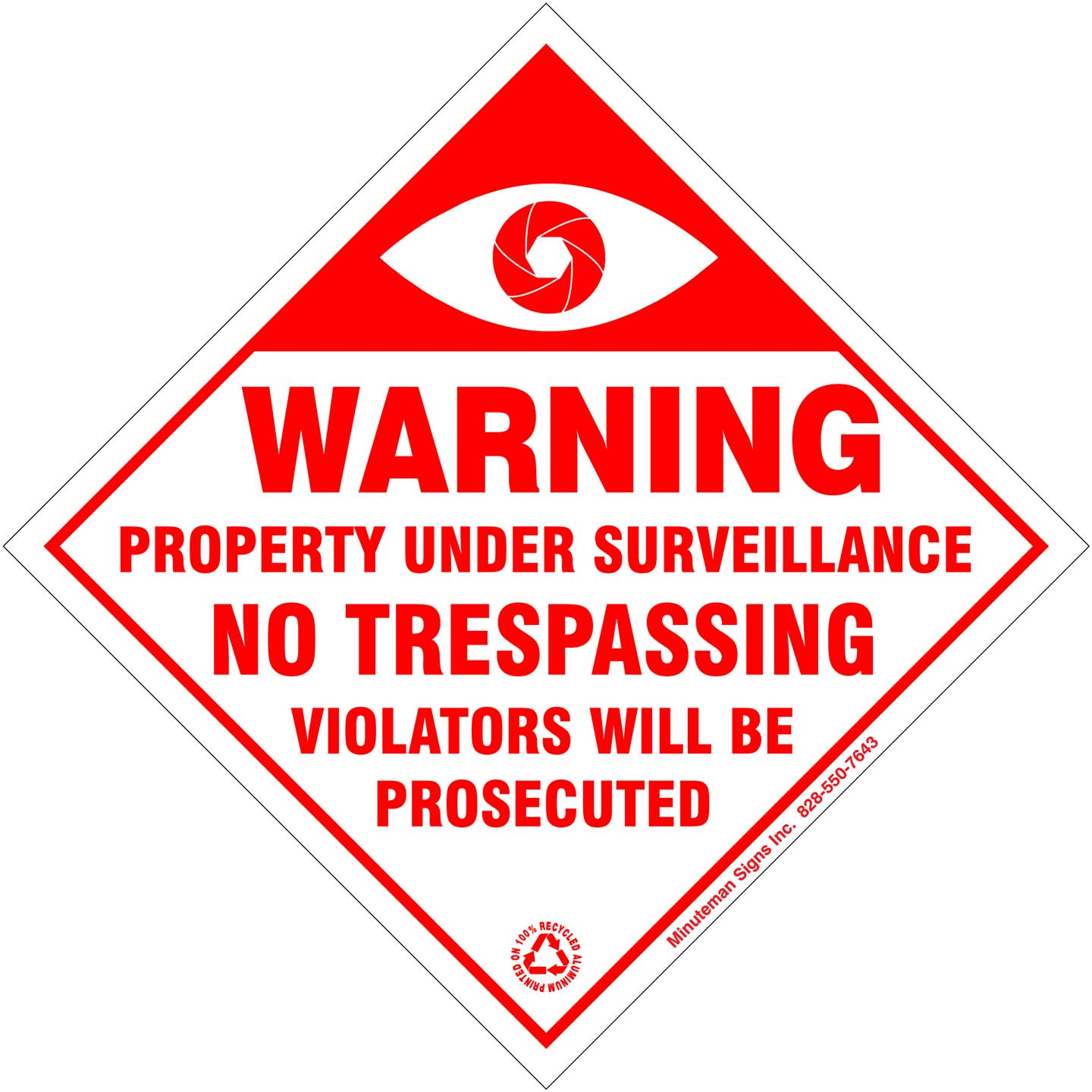 White and Red Surveillance Sign